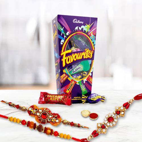 Pleasant Celebration Set of Rakhi with Mix Cadbury Chocolates