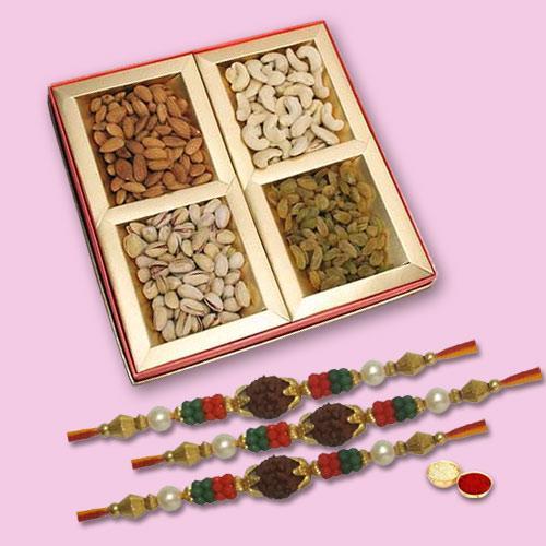 Blessed Pavitra Rishta 3 Rakhi Set With Dry  Fruits, Set Of Roli Chaval