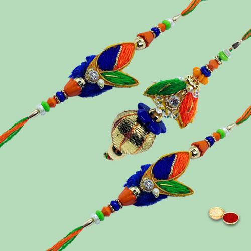 Fascinating Triple Fancy Family Rakhi Set