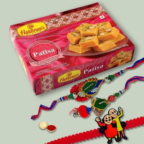 Irresistible Patisa Pack with 3 Family Rakhi Set