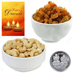 Fresh Cashews And Raisin With Silver Plated Coin And Diwali Card