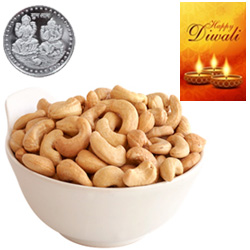 Healthy Delicious Cashews With Silver Plated Coin And Diwali Card