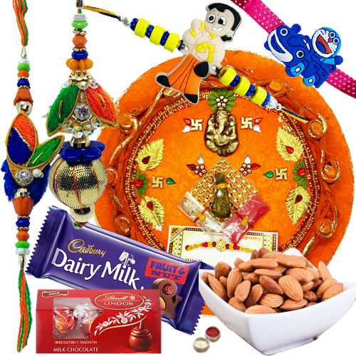 Striking Combo of Family Rakhi Set With Rakhi Thali, Almonds, Cadbury N Lindt Chocolate