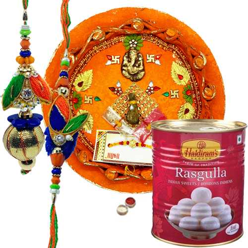 Graceful Bhaiya Bhabhi Rakhi Set With Pooja Thali And Haldiram Rasgulla