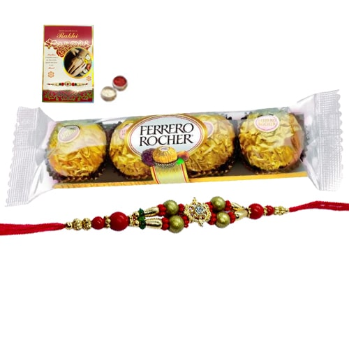 A 4 pcs Ferrero Rocher Chocolate Pack with Rakhi and Roli Tilak Chawal