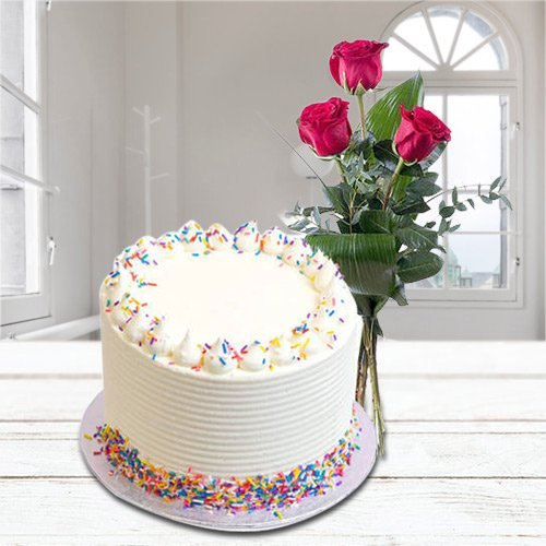 Moistening Delight 2.2 Lbs Vanilla Cake clubbed with 3 Red Rose Posy