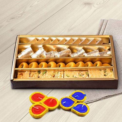 Assorted Sweets from Haldiram with wax Diya