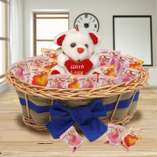 Breathtaking Arrangement of Chocolates and Teddy