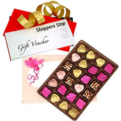 Astonishing Present of Gift Voucher of Rs.1000 from Shoppers Stop and 24 Pc. Homemade Assorted Chocolate Box