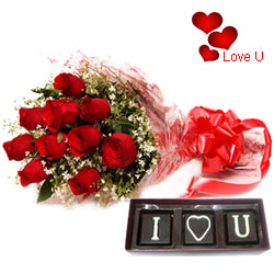 Magical V-day Combo of Roses Bouquet with Hand Made Chocolates