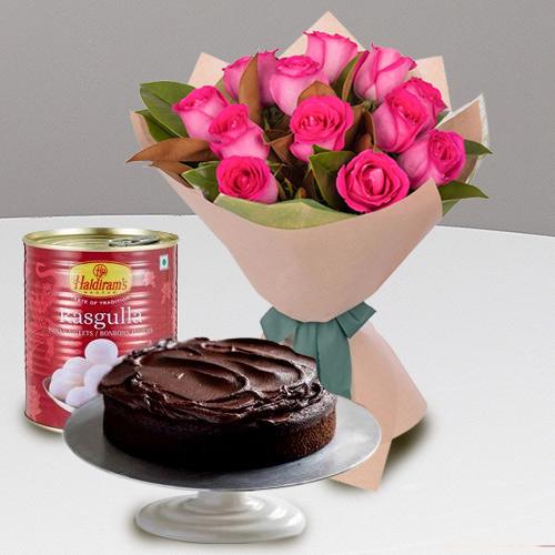Fragrant 12 Red Roses and Haldiram Rasgulla with 1 Kg Eggless Cake