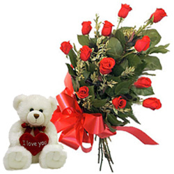 12 Red Roses Bunch with a small teddy bear