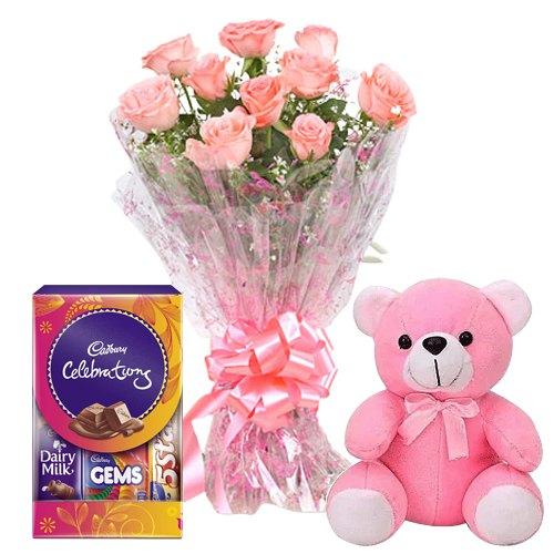 Dazzling Pink Rose Hand Bunch, Small Teddy with Mini Cadbury Celebration