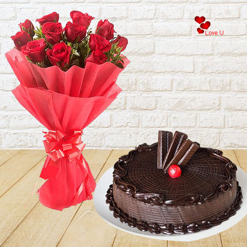 Online Chocolate Cake N Red Roses Bouquet for Rose Day