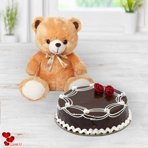 Buy Online Chocolate Cake N Teddy for V-Day