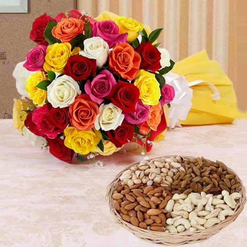 Impressive 1 Kg. Dry Fruits with 2 Dozen Colorful Roses