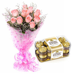 Ever Delightful Pink Roses Bunch and Ferrero Rocher Combo