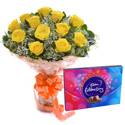 Premium Yellow Rose Bouquet and Cadbury Celebration Combo