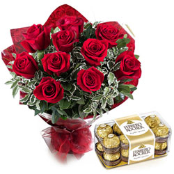 Romantic Red Rose Flower Bouquet and Fererro Rocher Chocolates