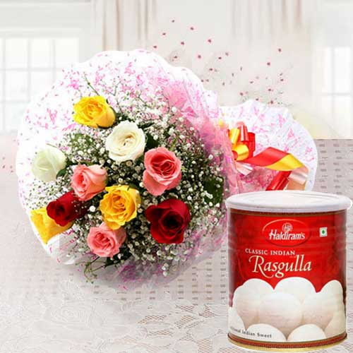 Appealing Birth-Day Combo Pack of Mixed Roses and Haldiram Rasgulla