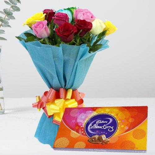 Beautiful Birthday Combo of Mixed Roses with Cadbury Celebration