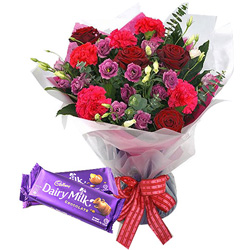 Birth-Day Milky Cadbury Chocolate with Glorious Mixed Flowers Bouquet