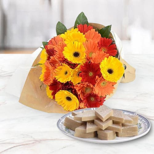 Happy Birthday Combo of Delicious Kaju Katli and Gorgeous Arrangement of Mixed Gerberas