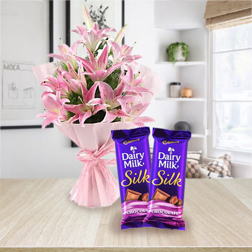 Enjoyable Happy Birth-Day Dairy Milk Silk and Bouquet of Pink Lilies