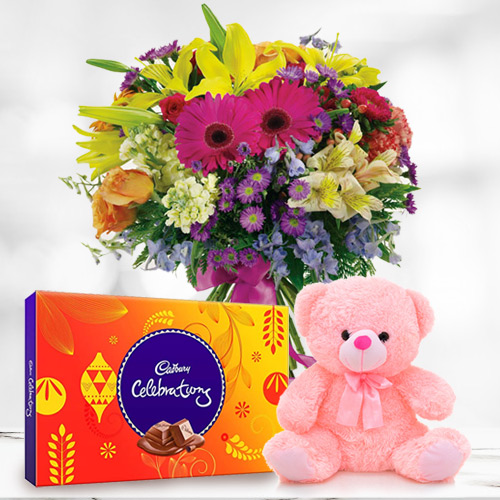 Luminous Mixed Flower in a Vase with Cadbury Celebration N Small Teddy