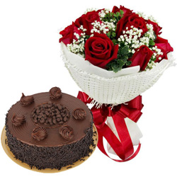 Birth-Day Memorable Combo of Chocolate Cake N Red Rose Bouquet
