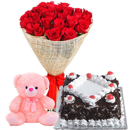 Soft N Pretty Happy Birthday Red Rose Bouquet with Small Teddy N Black Forest Cake
