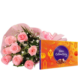 Anniversary Combo of Pink Roses and Cadbury Celebration Chocolate