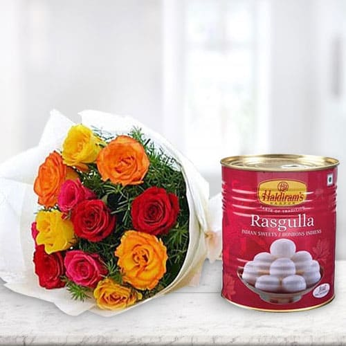 Anniversary Wishes Delicious Rasgulla with Pretty Mixed Roses Combo