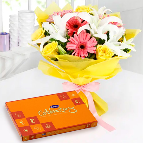 Anniversary Delight Fresh Pick Mixed Flowers Bouquet with Lip-Smacking Cadbury Celebration