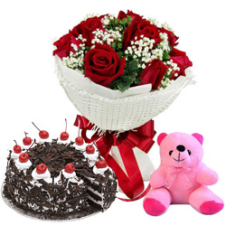 Anniversary Everlasting Red Rose Bouquet with Famous Black Forest Cake N Small Teddy