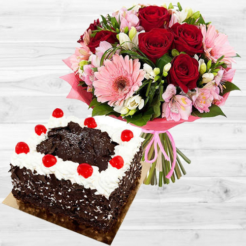 Romantic Mixed Flowers Bouquet with 1 Lb Black Forest Cake