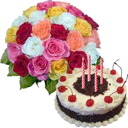 Black Forest Cake From Taj / 5 Star Bakes with Mixed Roses