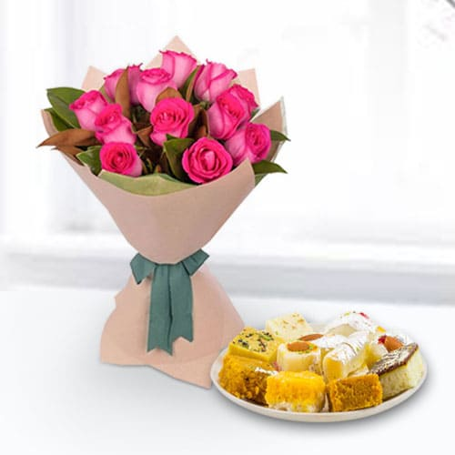 Mixed Sweets Box and Pink Roses Bouquet
