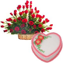 50 Roses Arrangement and  Love Cake 2 Lbs