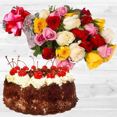Chromatic mixed Roses bunch with mouthwatering Black Forest Cake