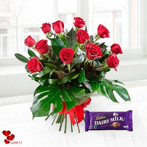 Gift Cadbury Chocolates N Red Roses Online