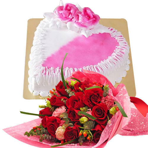 Incomparable 12 Red Dutch Roses Bouquet with 1 Kg Heart Shaped Cake