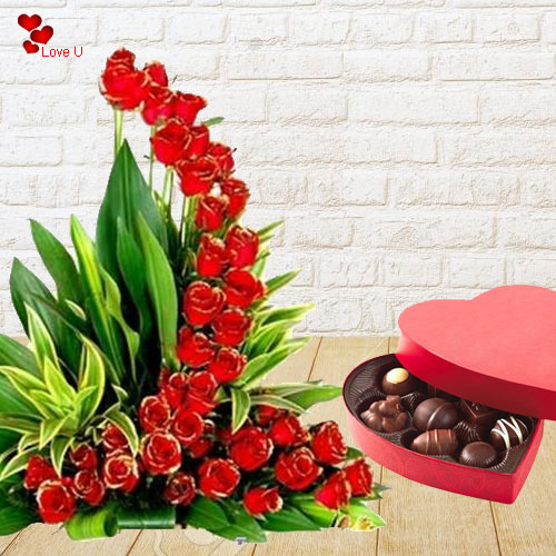 Buy Online Heart Shape Chocolate Box with Red Roses