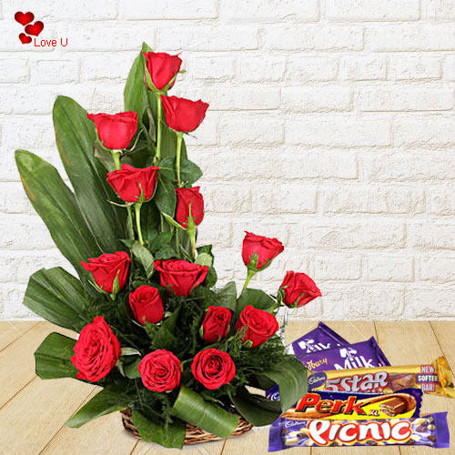 Assorted Cadbury Chocolates N Red Roses for Rose Day