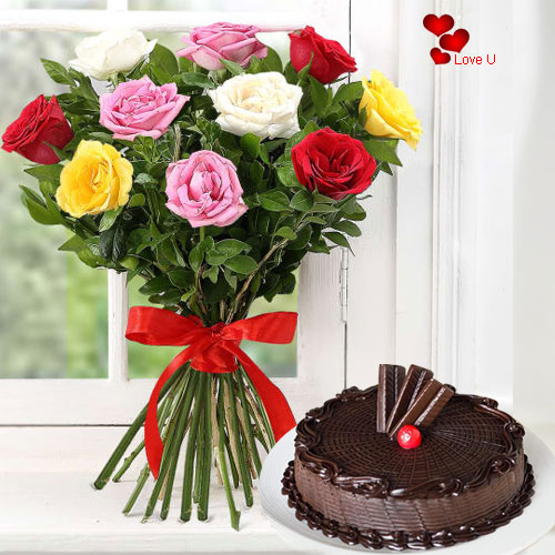Order Combo Gift of Cake N Assorted Roses Bunch for Rose Day