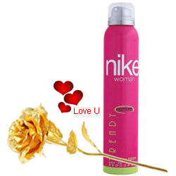 Trendy Deo from Nike for Women with 1 Golden Rose