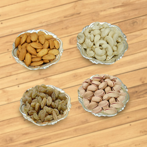 Cool Assortment of Dried Fruits and Silver Plated Bowls