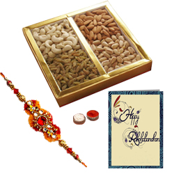 Fantastic Assorted Dry Fruits with A Decorative free Rakhi, Roli Tilak and Chawal