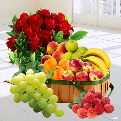 Premium Fresh Fruits Gift Basket with Red Rose Bouquet