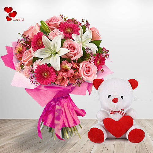 Online Teddy Day Gift of  Flowers N Teddy Basket